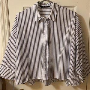 Zara blue and white strip blouse